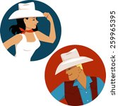 Cowgirl And Cowboy Round...