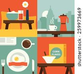 breakfast icons flat set with... | Shutterstock .eps vector #259973669