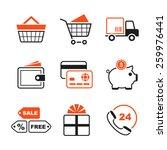 shopping simple vector icon set ... | Shutterstock .eps vector #259976441
