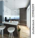 kitchen modern style. 3d images | Shutterstock . vector #259982099
