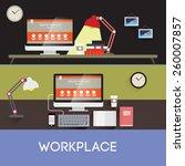 vector llustration workplace.... | Shutterstock .eps vector #260007857