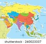 vector illustration of asia map ... | Shutterstock .eps vector #260023337
