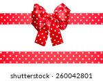 Red Bow And Ribbon With White...