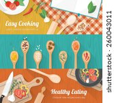 food and cooking banner set... | Shutterstock .eps vector #260043011