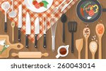kitchenware utensils and food... | Shutterstock .eps vector #260043014