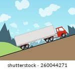 semi truck driving up a steep... | Shutterstock .eps vector #260044271