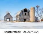 Old Barns With A Silo And...