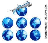 airliner with a globe on the... | Shutterstock .eps vector #260095625