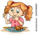 hungry little girl eating...   Shutterstock .eps vector #260098889