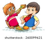 two hungry boys eating on a... | Shutterstock .eps vector #260099621