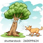 dog barking the wrong tree on a ... | Shutterstock .eps vector #260099624