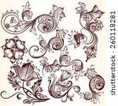 vector set of swirl elements... | Shutterstock .eps vector #260118281