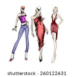 sketch. fashion girls | Shutterstock .eps vector #260122631