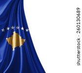 kosovo flag and white background | Shutterstock . vector #260130689