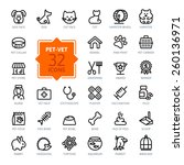 Stock vector outline web icon set pet vet pet shop types of pets 260136971