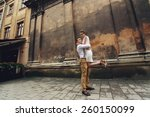 couple walk in old town lvov ... | Shutterstock . vector #260150099
