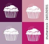 cupcakes seamless linear...   Shutterstock .eps vector #260150501