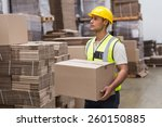 portrait of worker carrying box ... | Shutterstock . vector #260150885