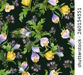 watecolors crocus pattern and... | Shutterstock . vector #260154551