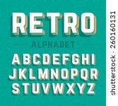 retro style 3d alphabet. vector. | Shutterstock .eps vector #260160131