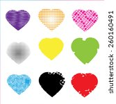 set of colorful hearts on red... | Shutterstock .eps vector #260160491