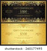 luxury golden gift certificate... | Shutterstock .eps vector #260177495