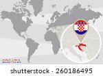 world map with magnified... | Shutterstock .eps vector #260186495