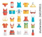 Clothing Icons - Illustration flat.