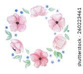 vector watercolor wreath with... | Shutterstock .eps vector #260223461