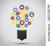 lamp of light with smart phone... | Shutterstock .eps vector #260228249