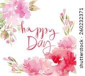 watercolor flowers peonies....   Shutterstock .eps vector #260232371