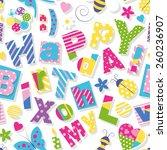 happy birthday my love pattern | Shutterstock .eps vector #260236907