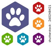 paw rhombus icons set in... | Shutterstock .eps vector #260248421