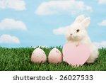 rabbit holding blank pink paper ... | Shutterstock . vector #26027533
