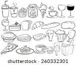 different kind of food doodles   Shutterstock .eps vector #260332301