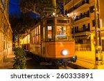 Stock photo port de soller sunset train ferrocarril majorca at balearic island of mallorca spain 260333891