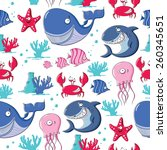 funny seamless pattern with sea ... | Shutterstock .eps vector #260345651