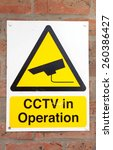 cctv in operation sign on a... | Shutterstock . vector #260386427