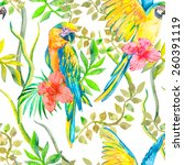 macaw seamless pattern. topical ... | Shutterstock . vector #260391119