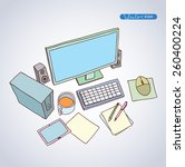 office workspace   hand drawn... | Shutterstock .eps vector #260400224