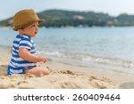 little baby boy sitting on the... | Shutterstock . vector #260409464