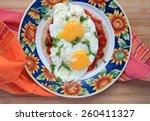 huevos rancheros in colorful...   Shutterstock . vector #260411327