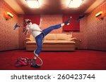 Adult Man Dancing With Vacuum...