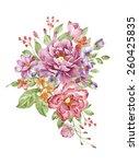 watercolor illustration bouquet ... | Shutterstock . vector #260425835