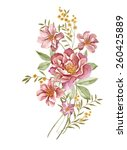 watercolor illustration bouquet ... | Shutterstock . vector #260425889