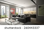 modern interior with black sofa ... | Shutterstock . vector #260443337