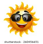 summer sun face with sunglasses ... | Shutterstock .eps vector #260456651