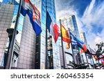 waving flags in front of... | Shutterstock . vector #260465354