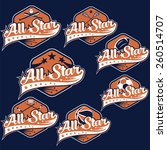 set of vintage sports all star crests - stock vector