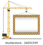vector crane lifting cargo on a ... | Shutterstock .eps vector #26051539